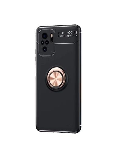 Microsonic Xiaomi Redmi Note 10 Kılıf Kickstand Ring Holder Kırmızı Siyah
